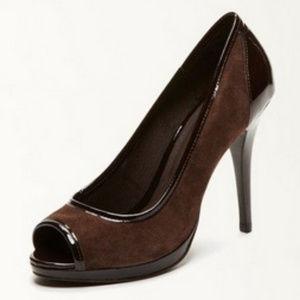 Donald J. Pliner brown peep toe pumps